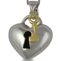 Key to my heart-  Heart shape sterling silver necklace