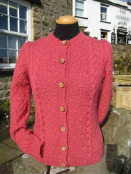 Hand Knitted Tan Hill cardigan in Wild Rose Wensleydale wool