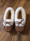 Ladies Sheepskin slippers with sheepskin cuff in a light tan colour.