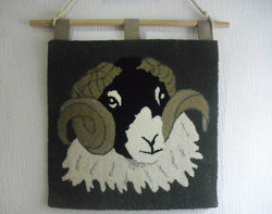 Tup wall hanging in Natural Swaledale and Welsh hill wool
