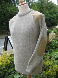 Hand framed crew neck sweater in natural Swaledale wool