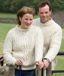 Hand-knitted crew-neck sweater in natural Swaledale wool.