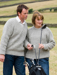 Hand-framed rib sweater in a mixture of natural Swaledale wool and mid-grey Welsh wool.
