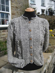 Ladies Muker Cardigan hand-knitted in natural Swaledale and Welsh Hill wool
