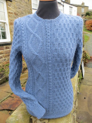 Ladies Langthwaite sweater shown in Denim Blue.