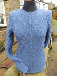 Ladies Langthwaite sweater shown in Denim Blue.
