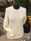 Ladies Langthwaite sweater shown in Natural