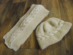 Natural Cable Hat with Natural Cable Scarf