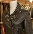 Ladies Leather Biker Black with studs