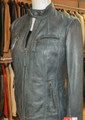 Ladies Leather Jacket Petrol Celine