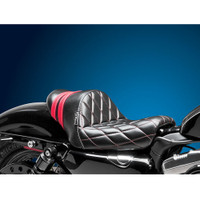 Le Pera - Stubs Spoiler Seat - 2004-2006 / 2010-2018 Sportster - Black/Red - Diamond - Throttle Addiction