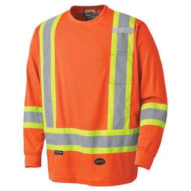Hi-Vis Birdseye Long-Sleeve Shirt - CSA, Class 1 & 2 - Pioneer - 6995 Orange