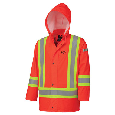 FR Hi-Vis 4-Way Stretch Waterproof Rain Jacket - CSA, Class 1 & 2 - Pioneer - 5892