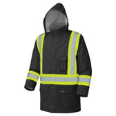 Hi-Vis Long Winter Quilted Safety Parka - CSA, Class 1 & 2 - Pioneer - 5031BK