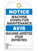 BILINGUAL NOTICE – MACHINE DOWN FOR MAINTENANCE
