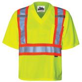 Hi-Vis Journeyman V-Neck Safety T-Shirt - CSA, Class 2 - Viking - 6005G
