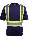 Hi-Vis Cotton-Lined Safety T-Shirt - CSA, Class 2 - Viking 6000N Navy