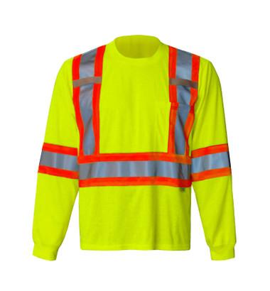 Hi-Vis Long Sleeve Safety Shirt - CSA, Class 2 - Viking 6010G