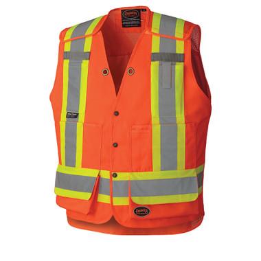 Hi-Vis Drop Shoulder Surveyor Safety Vest - CSA, Class 2 - Pioneer Startech - 6694 Orange