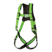 Hi-Vis PeakPro Full Body Harness with Grommetted Leg Straps - 1D Class A- FBH-60120A - Green