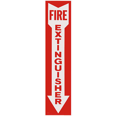 """Self-Adhesive Vinyl Fire Extinguisher Arrow Sign - 4 x 18"""" - RS Steel - BL109"""