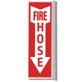 "Plastic Double-Sided FIRE HOSE Arrow Sign - 4 x 18"" - RS Steel - BL125"