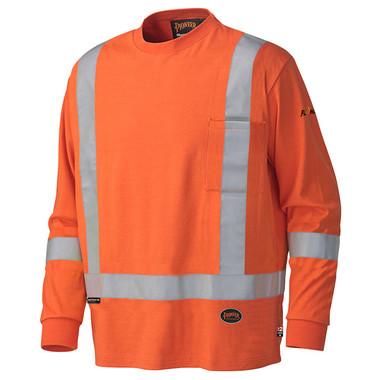 FR Hi-Vis Cotton Long-Sleeve Shirt CSA, Class 1 Pioneer 339SFA Orange