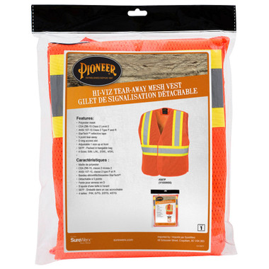 Hi-Vis Tear-Away Mesh Safety Vest CSA, Class 2 Pioneer Orange 597P