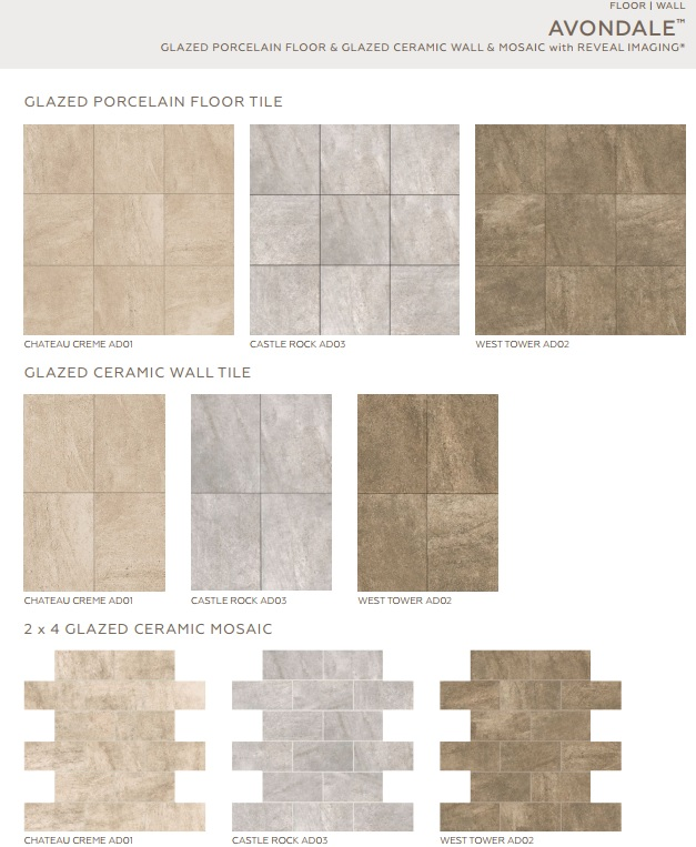 Avondale - Castle Rock Ceramic Wall Tile 10\