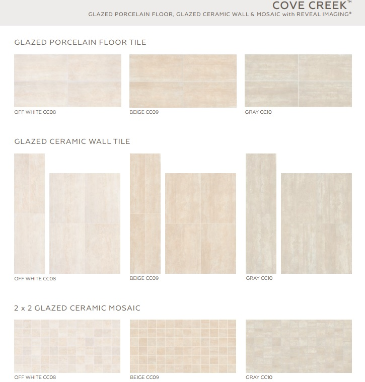Cove Creek Off White Ceramic Mosaic X On X Sheet - 16 x 16 white ceramic floor tile