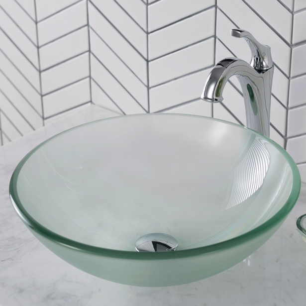 Glass Vessel Frosted Round 16x16 Sink