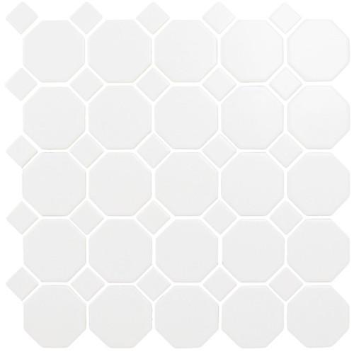 CC Mosaics - Matte Octagonal Snow White Mosaic 12x12