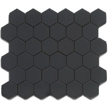 CC Mosaics - Hexagon Black Matte Mosaic 2x2 on 12x12 Sheet (UFCC103-12M)