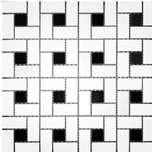 CC Mosaics - Matte Pinwheel White & Black Dot Mosaic 12x12