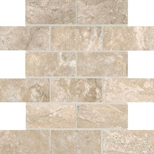 Laurel Heights Elevated Beige 2x4 Brick Joint Mosaic