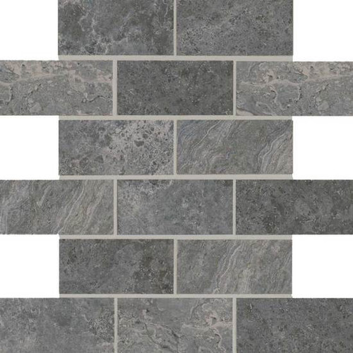 Laurel Heights Charcoal Crest 2x4 Brick Joint Mosaic Tiles Direct