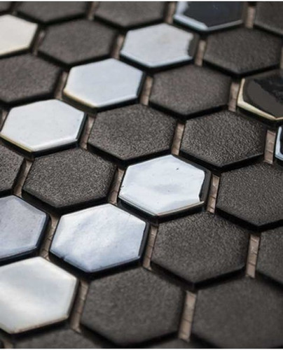 Glass Onix Hexagon Gun Metal 13x13 Mosaic