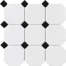 "Soho White-Black Matte Octagon with Dot Porcelain Mosaics 4"""