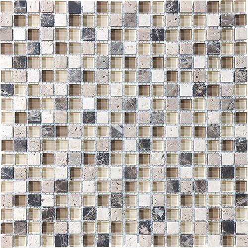 "Cappuccino Glass Stone Blend Mosaics 5/8"" x 5/8"""