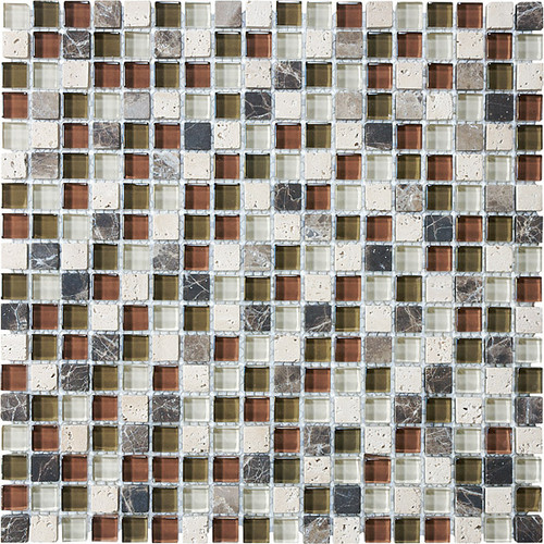 "Cabernet Glass Stone Blend Mosaics 5/8"" x 5/8"""