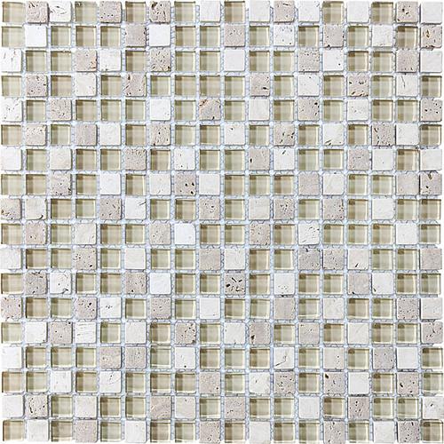 "Crème Glass Stone Blend Mosaics 5/8"" x 5/8"""