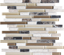 Cappuccino Glass Stone Linear Blend Mosaics