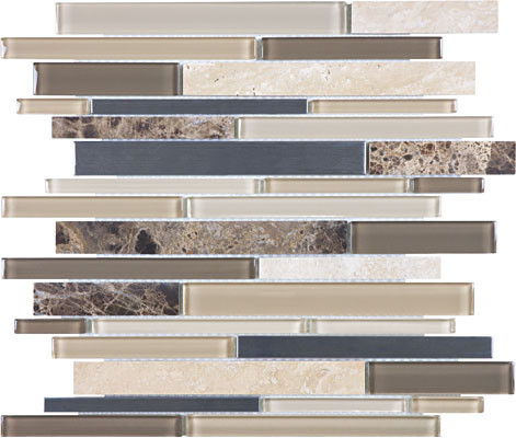 Woodland park glass stone stainless linear mosaics tiles for Granite cost per linear foot