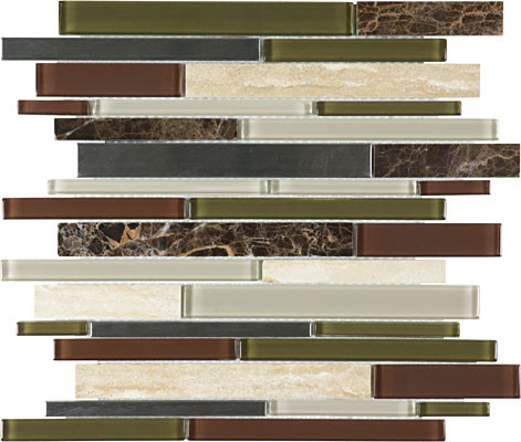 Deep Grotto Glass Stone Stainless Linear Mosaics