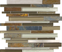 Nature Trail Glass Stone Stainless Linear Mosaics