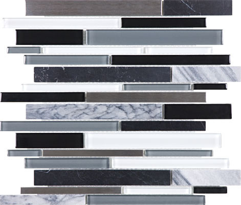 Arctic Night Glass Stone Stainless Linear Mosaics