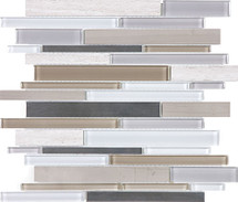 Twilight Mist Glass Stone Stainless Linear Mosaics