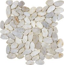Zen Fiji Cream Flat Polished Pebble Mosaics 12x12
