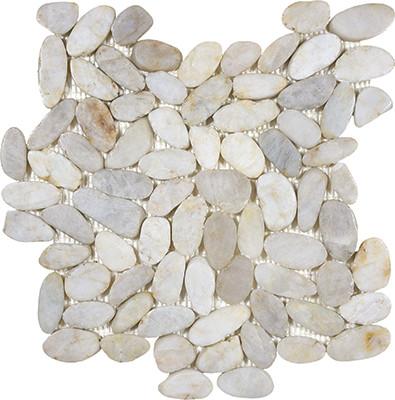Zen Fiji Cream Flat Polished Pebble Mosaics 12x12 Tiles