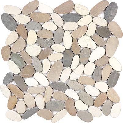 harmony warm blend flat pebble mosaics 12x12